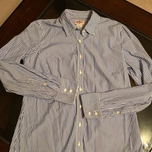 J Crew Blue and White Striped Button Down, Size S